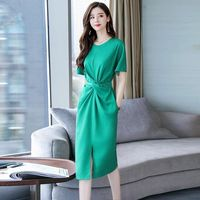 Summer blue dress female long section 2019 new fashion super fairy forest tie band waist open slim slimming belly dress WF29