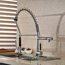 Sinlge Handle Chrome Solid Brass Kitchen Faucet Double Sprayer Vessel Sink Mixer Tap Deck Mounted