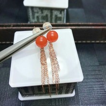 shilovem 18K rose Gold real Natural south Red agate Drop earrings fine Jewelry wedding new plant women gift myme6.5-7nh цена в Москве и Питере