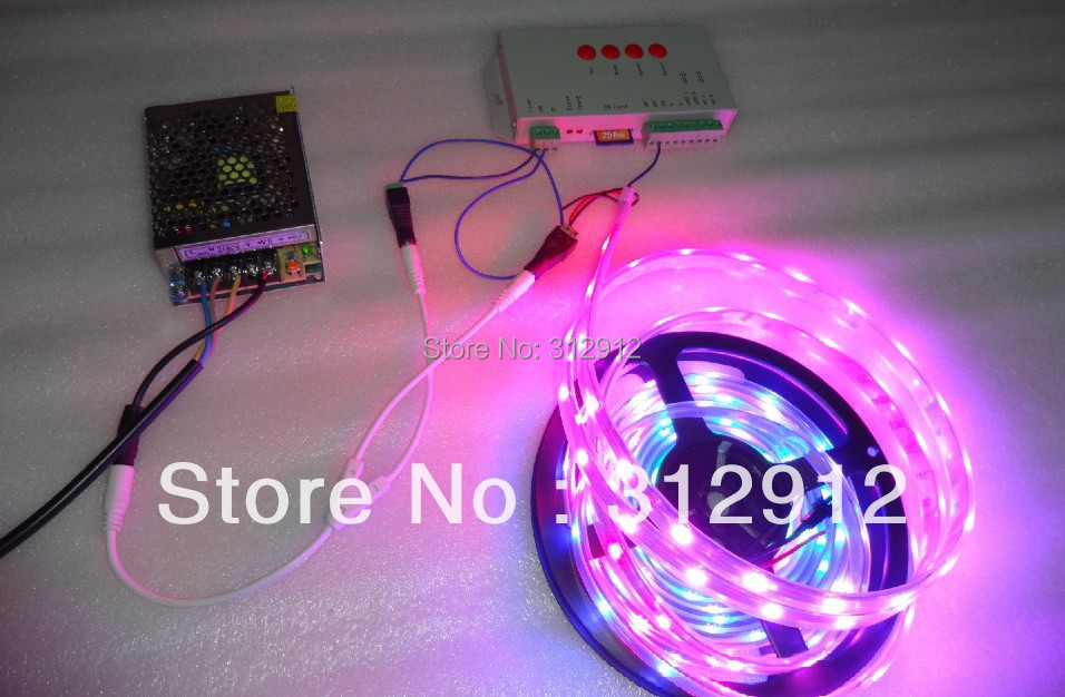 BLACK PCB 5m DC5V 30leds/m WS2812B led pixel strip,IP68 + T-1000S sd controller+ 5V/60W power supply блуза finn flare finn flare mp002xw0tynx