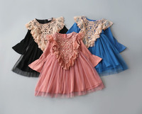2016 New Children Kids Fall Lace Flare Sleeve Dresses Princess Girls Sweet Dress 3 8y Toddler