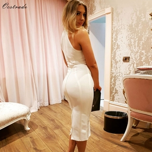 Image 5 - Ocstrade Sexy Women White Bandage Dress 2019 New Arrivals Striped Halter Midi Bodycon Dress High Quality Bandage Rayon Dress