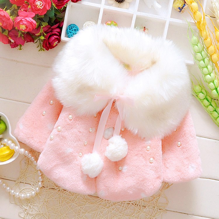 Autumn Winter Baby Girls Faux Fur Pearls Fleece Lapel Collar Infant Kids Outerwear Princess Jacket Coats roupas de bebe casaco