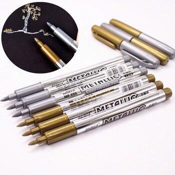 1 шт. DIY Металлические Водонепроницаемый постоянный Краски Фломастеры находчивый золото и серебро 1.5 мм студент поставок маркер craftwork Pen
