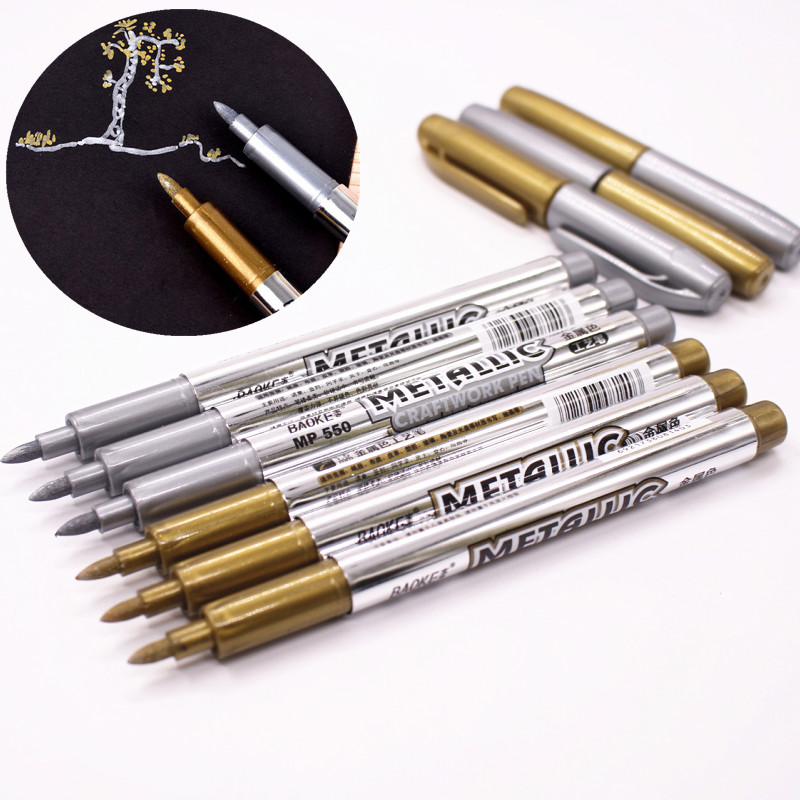1pcs DIY Metal Waterproof Permanent Paint Marker Pens Sharpie Gold And Silver 1.5mm Student Supplies Marker Craftwork Pen