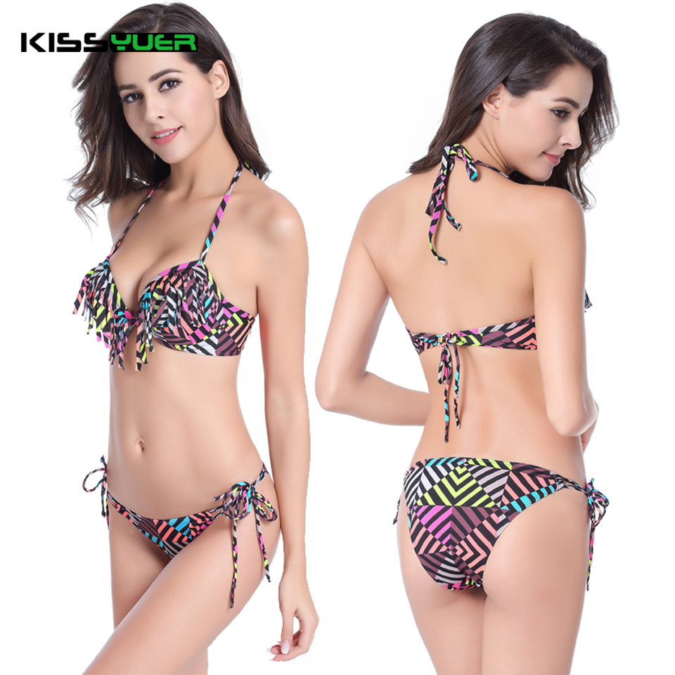 KISSyuer Fringe bikini font b Cup b font under wired adjustable Strappy Halter plus size 2016 online get cheap f cup swimsuit aliexpress com alibaba group,F Cup Swimwear Plus Size