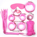 7pcs/set sex bandage sex toys sex flirting restaint handcuffs whip eye mask mouth ball