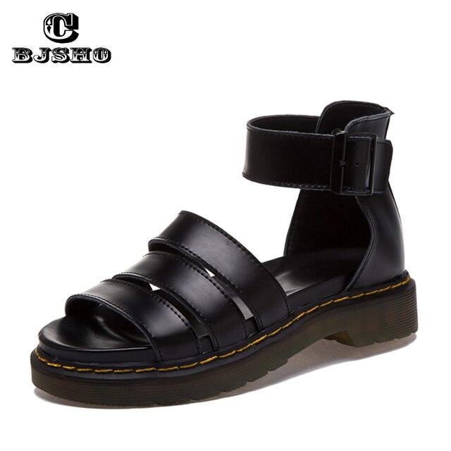 CBJSHO Qualidade Couro Genuíno Sandálias Mulheres Sapato 2017 Meninas do Verão Plataforma Fivela Dedo Aberto Gladiador Sandálias de Salto Cunha Mulher
