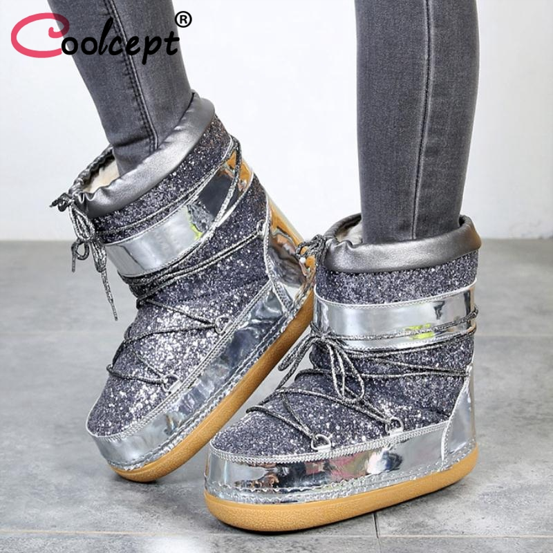 Detail Feedback Questions about Coolcept New Winter Women Snow Boots  Thickened Plush Keep Warm Ankle Boots Fashion Thick Bottom Quality Women  Shoes Size 27 ... cd4b817fa764
