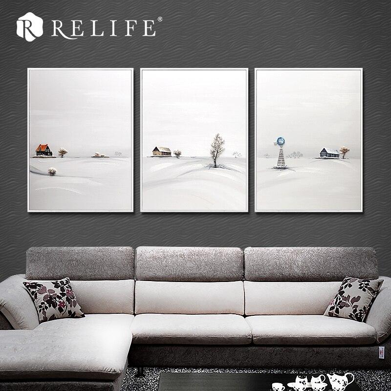100% peint à la main neige paysage décoratif peinture à l'huile pour salon décor à la maison Style américain nature morte