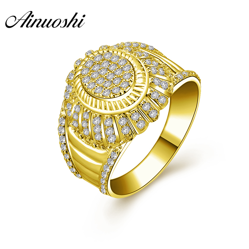 AINUOSHI 10K Solid Yellow Gold Wedding Band Intricate Round Cluster Ring Luxurious 7.1g Wedding Engagement Gold Jewelry Men RingAINUOSHI 10K Solid Yellow Gold Wedding Band Intricate Round Cluster Ring Luxurious 7.1g Wedding Engagement Gold Jewelry Men Ring