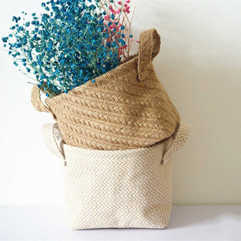 Ins Nordic Style Braided Jute Cloth Flowerpot Storage Basket Cotton Linen Desktop Storage Box Sundries Organizer Laundry Basket