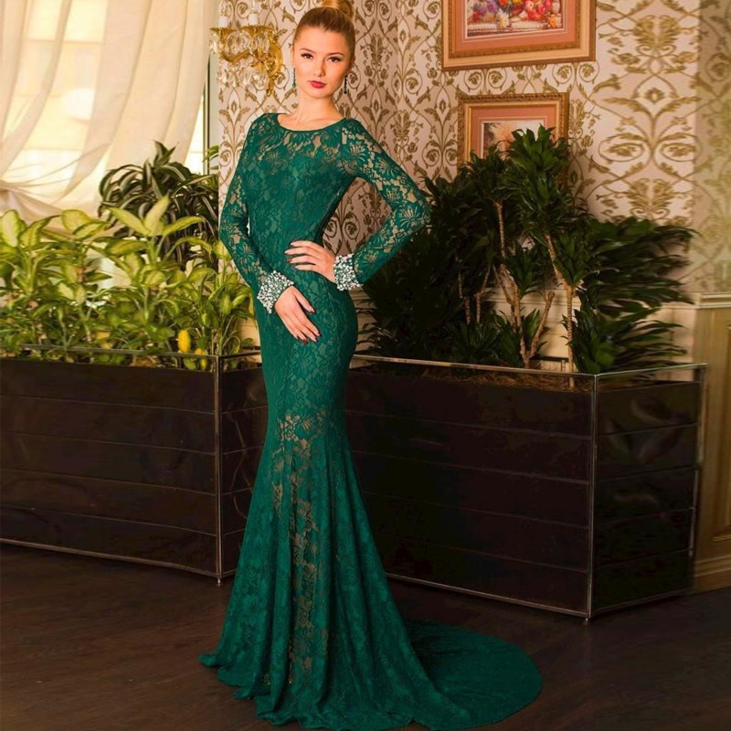 Emerald Green Evening Dresses Mermaid Style Long Sleeve Lace Evening