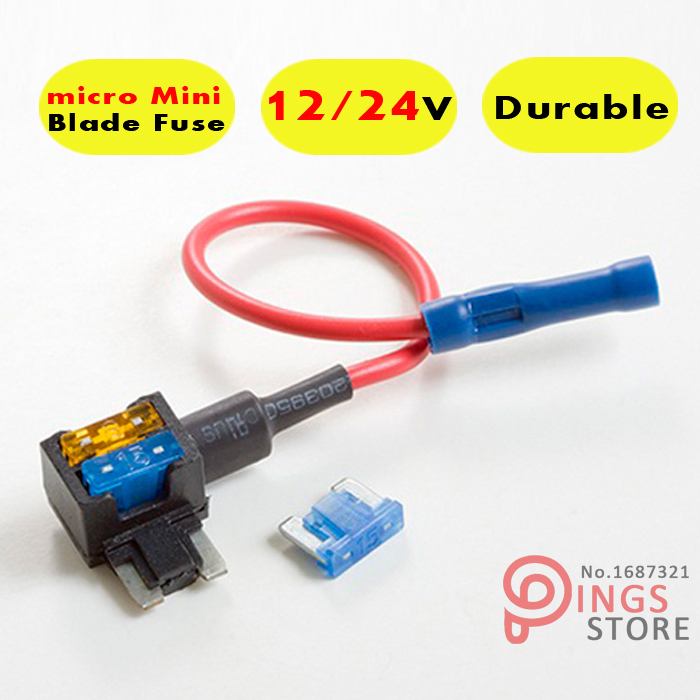 micro Mini Blade Fuse Tap Holder Add A Circuit Line ATM APM Car Truck Motorcycle Motorbike 12V 24V add a circuit blade fuse holder with 30a blade fuse black medium size