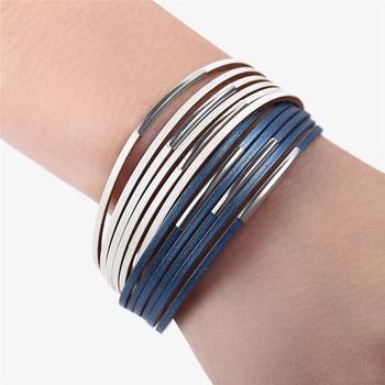 Fashion Wrap Couples Bracelet For Women Men Multiple Layers Leather Bracelets 5