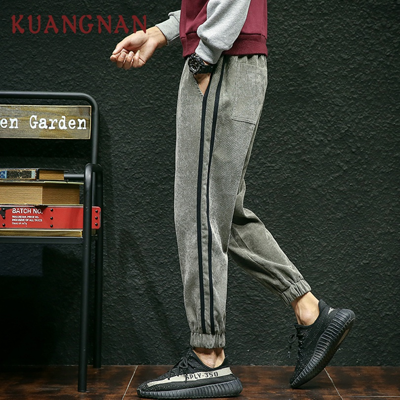 KUANGNAN Pants Casual Corduroy Joggers Trousers Men Hip-Hop XXXL