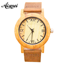 2018 Women Wooden Quartz Watch Ladies Roman numerals dial with Leather Strap