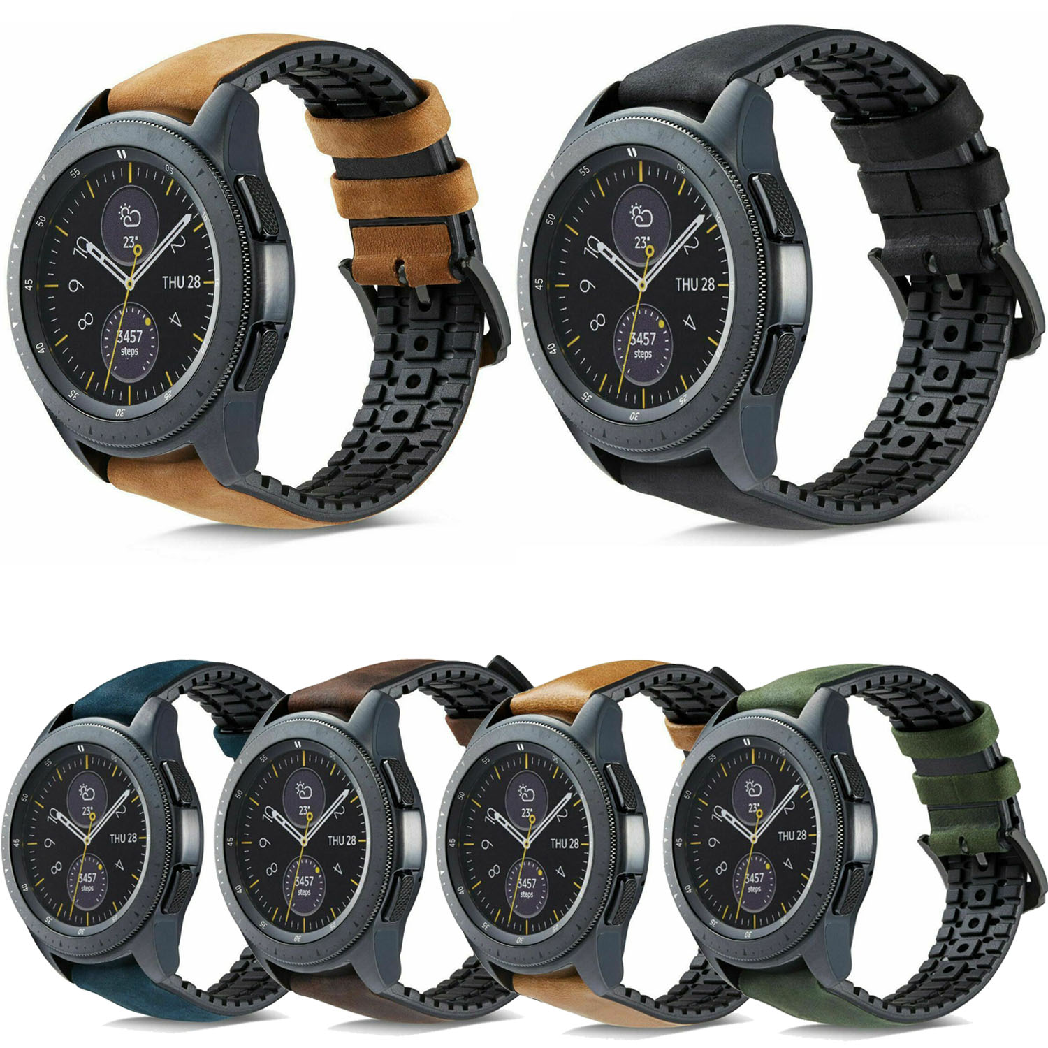 22mm Vintage Leather Strap For Samsung Galaxy Watch 46mm Band 20mm Sweat Proof Silicone Strap For Samsung Galaxy Watch 42mm Band