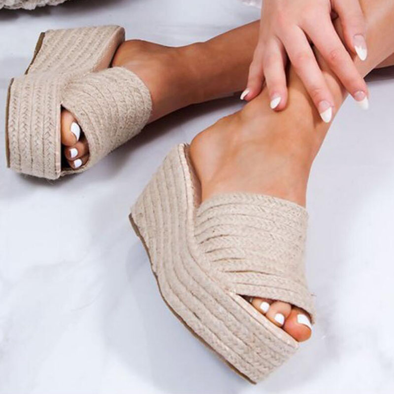Platform Slippers Women Open Toe Wedges Sandals Ladies Summer High Heels Espadrilles Shoes Big Size Flip Flops Zapatos Mujer
