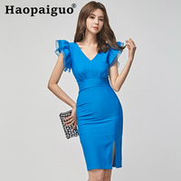 Big Size Corset Blue Dress Summer 2019 Vestidos Verano V neck Elegant Midi Dress Korean Ruffles Short Sleeve Dresses Woman Party