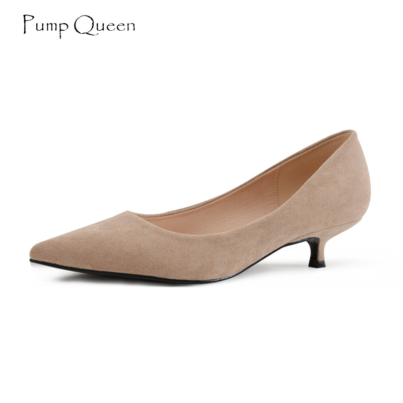 PumpQueen Kitten Heel Women Shoes Med Heel Shoes Woman Pointed Toe Flock Slip On Office Style Black Zapatos Mujer Plus Size 41 red spring autumn women s low heel pumps flock plain pointed toe shallow slip on ladies casual single shoes zapatos mujer black
