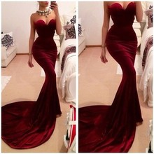 2014 Long Mermaid Prom Dresses Wine Red Satin Floor-length Discount Celebrity Party Evening Gown