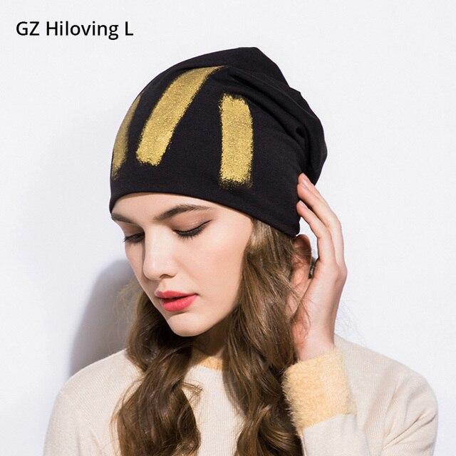 926b5201264 GZHilovingL New Winter Women Hats Cap 2018 Gold Metallic Thin Slouch Beanies  Spring Autumn Unisex Men Hip Hop Soft Polyester Hat