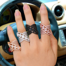 SISCATHY 2019 Hot Trendy Geometric Lines Wide Cubic Zirconia CZ Rings for Women Fashion Jewelry Bridal Engagement Wedding