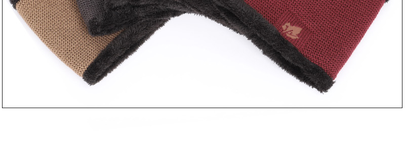 Зимние мужские вязаные шапки, шарф, уличные теплые бархатные унисекс новые модные трендовые брендовые шапки кленовый лист, кожаный Стандартный комплект для мужчин