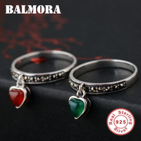 100 Real Pure 925 Sterling Silver Retro Jewelry Elegant Natural Green Agate Rings For Women Best