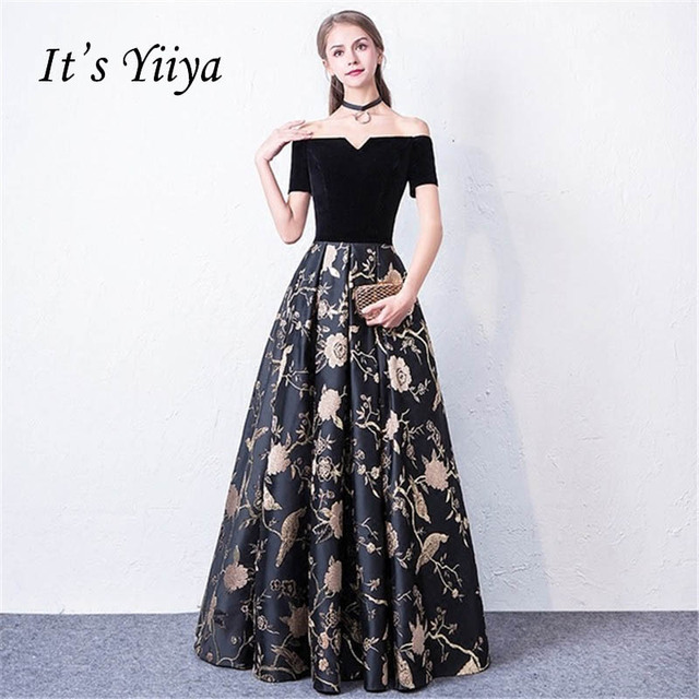 It s YiiYa Sex Black Flowers Off Shoulder Floral Ball Gown Elegant Lace Up Party  Formal Dress Floor Length Evening Dresses LX089-in Evening Dresses from ... 3d1c3fdee