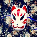 Full Face Hand-Painted Japanese Fox Mask Kitsune Cosplay Masquerade Red for Halloween