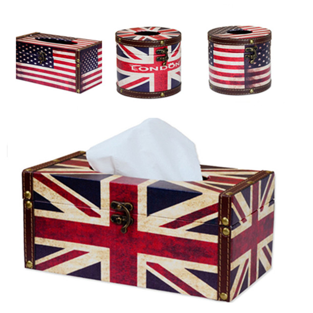 Stylish England Tissue Box Napkin Holder Retro Table Decorations Office Car  Pumping Paper Roll Paper Rack