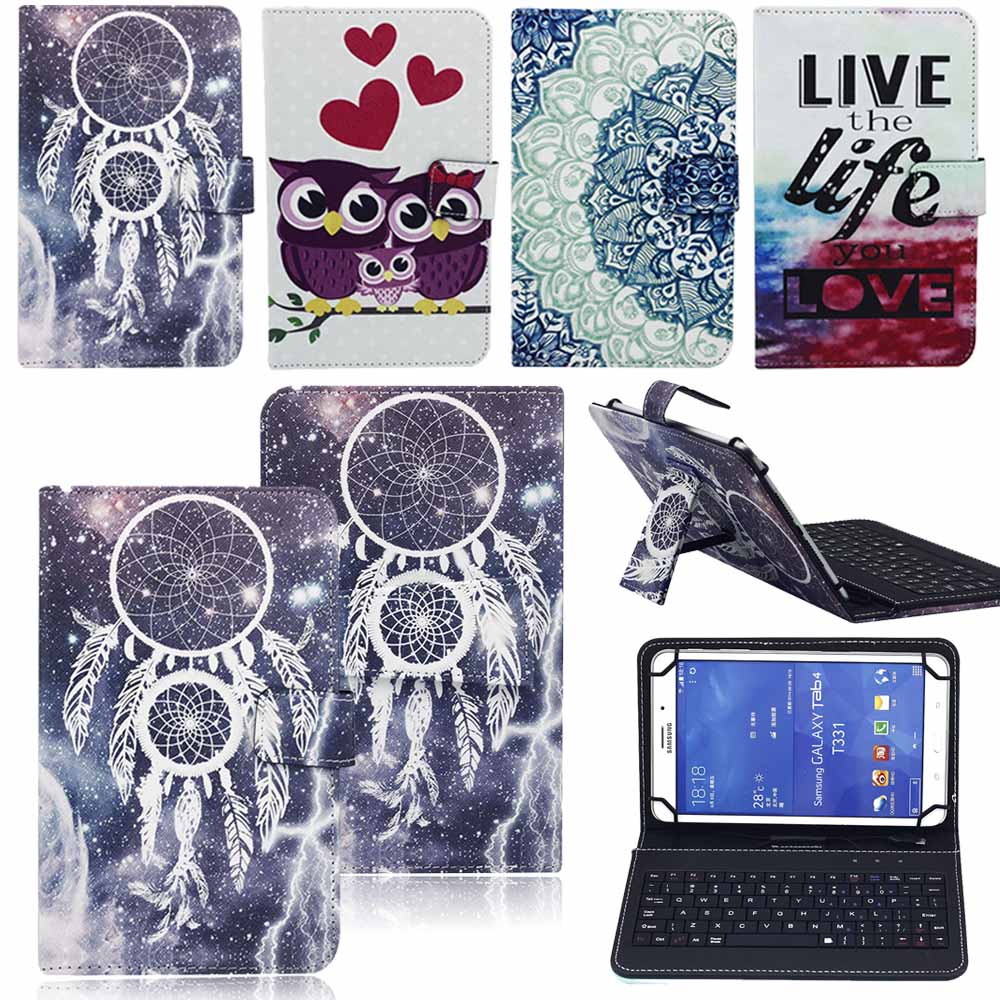 7 8 Inch Print Tablet Case With Keyboard Leather Protective Cover Case USB Keyboard For Universal 7 8 Android Tablet PC universal removable wireless bluetooth keyboard pu leather case cover stand for 7 8 inch tablet pc with free stylus