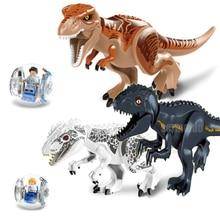 лучшая цена Jurassic World 2 Park Tyrannosaurus Indominus Rex Indoraptor Building Blocks Dinosaur Figures Bricks Toys Compatible