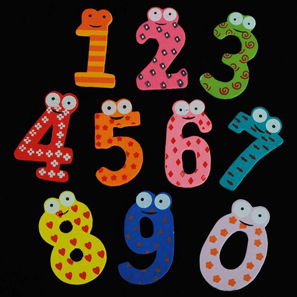 10pcs Decoration Fun Fridge Magnet Numbers Wooden Education Sticker Colorful Cartoon Kids