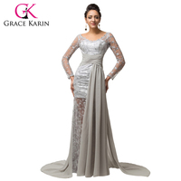 2015 New Elegant Long Sleeve Chiffon Lace Evening Dresses Grey Long V Neck Formal Party Dress