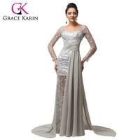 2015 New Elegant Long Sleeve Chiffon Lace Evening Dresses Grey Long V Neck Formal Party Dress