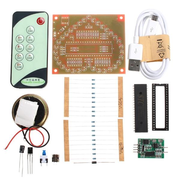 New Arrival 1 <font><b>Set</b></font> DC 5V DIY Colorful <font><b>MP3</b></font> Music Heart-shaped RGB LED Flash Kit
