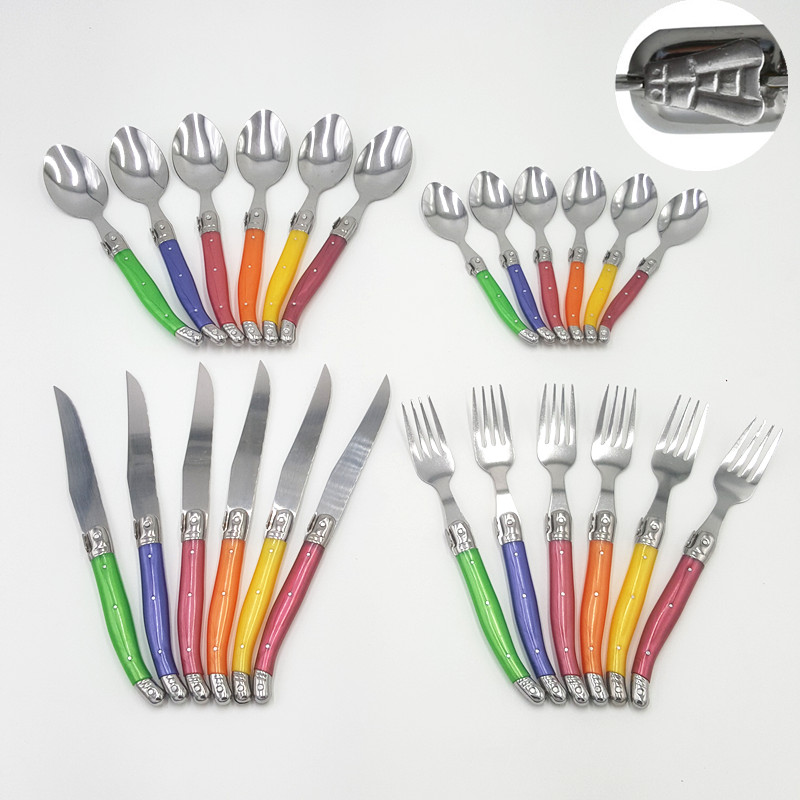 Free shipping Colorful France 24pcs High quality laguiole stainless steel dinnerware cutlery set tableware flatware set