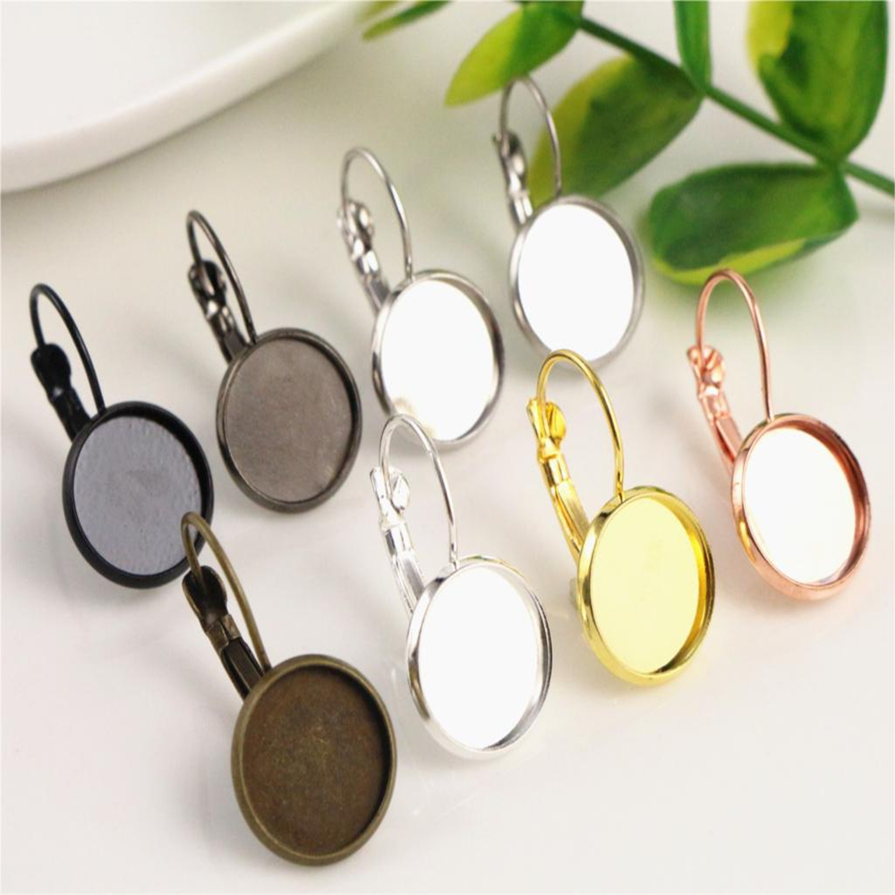 12mm 10pcs/Lot Classic Colors Plated French Lever Back Earrings Base,Fit 12mm Glass cabochons