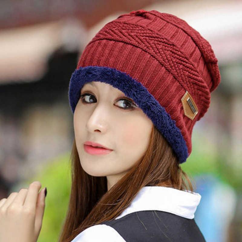 2019 New 1PC Katun Topi Musim Dingin Syal Set Fashion Hangat Knit Baggy Beanie Topi Ski Topi Syal Hat selendang Syal Beanie untuk Wanita
