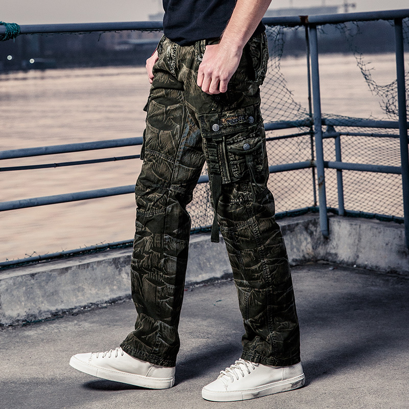 Camo Cargo Pants Men Work Pant Multi Pocket Army Men's Military Style Camouflage Tactical Pants Cotton Long Trousers Male Black