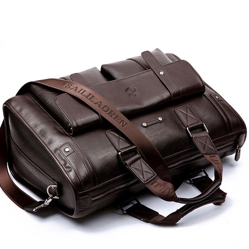 Men Split Leather Black Briefcase Business Handbag Messenger Bags Male Vintage Shoulder Bag Men's Large Laptop Travel Bags Hot