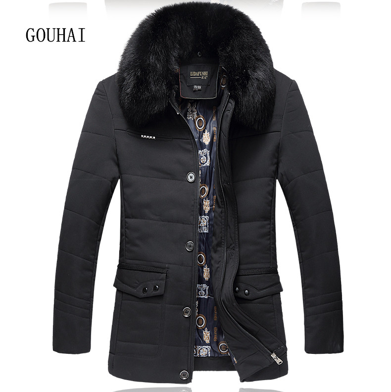 Winter Men Jacket Cotton Thick Business Parkas Fur Collar Plus Size L-5XL 6XL 2016 Man Down Coat Warm Windproof Overcoats