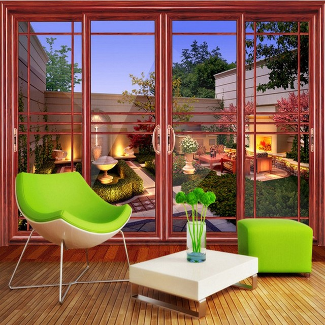 Free Shipping 3D sliding door back garden wall murals villa