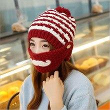 Beautiful cap beard winter to Cap Beanies knitted Wool Hats Women Skull Women Warm Mouth Mask Balaclava Beanies Mujer