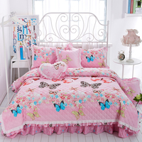 Königin King size Dick Wattierte Baumwolle Rosa Schmetterling Blumen Prinzessin bettwäsche set 4/7 stücke Bett bettbezug bettdecke set