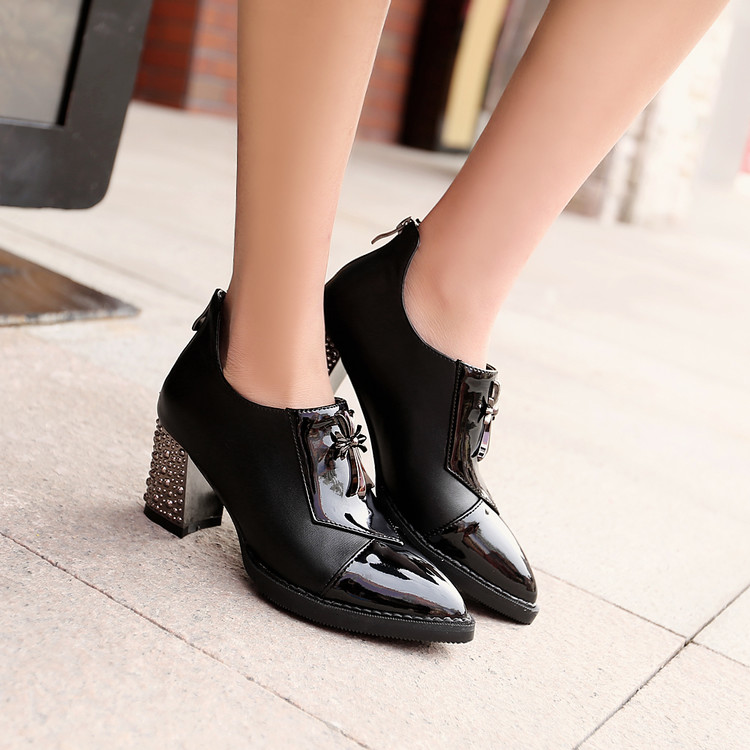 Big size 34-48 2017 spring autumn fashion leather shoes woman stiletto high heels pointed toe lace up solid women pumps 8011 memunia 2017 fashion flock spring autumn single shoes women flats shoes solid pointed toe college style big size 34 47