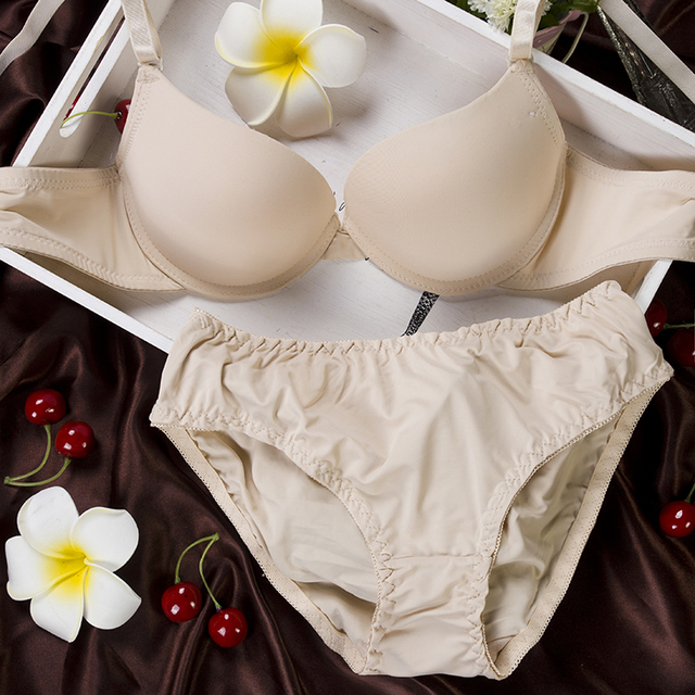 Sexy Bra Briefs Set Gathering Cups Push up A B cups T-shirt